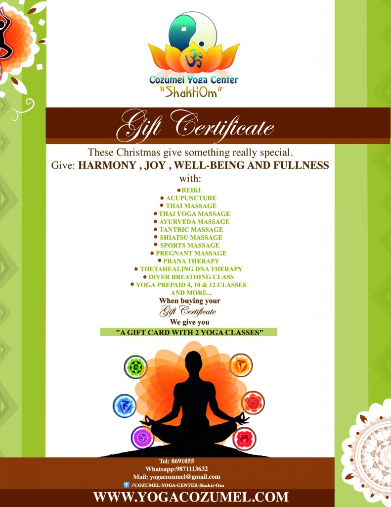 GIFT CERTIFICATES IN COZUMEL / Massage and yoga classes, call us at 987 1113632 orsend us a whatsapp : +52 1 9871113632
